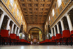 Tourists at Papal Basilica of Saint Mary Major. Faces are indistinguishable royalty free stock image