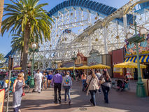 Tourists at Paradise Pier, Disney California Adventure Park. ANAHEIM, CALIFORNIA - FEBRUARY 13: Tourists at Paradise Pier  at Disney California Adventure Park on Royalty Free Stock Image