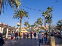 Tourists at Paradise Pier, Disney California Adventure Park. ANAHEIM, CALIFORNIA - FEBRUARY 13: Tourists at Paradise Pier  at Disney California Adventure Park on Stock Image