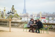 Tourists in Paris planning their trip Royalty Free Stock Photography