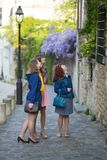 Tourists in Paris on a street of Montmartre Royalty Free Stock Image