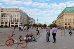 Tourists in Pariser Platz Berlin Germany, Europe royalty free stock photos