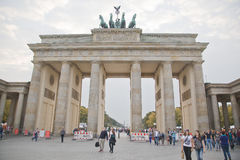 Tourists on pariser platz near brandenburg gate Stock Photos