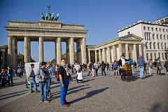 Tourists on pariser platz near brandenburg gate Stock Image