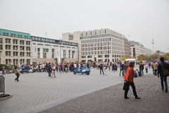 Tourists on pariser platz near brandenburg gate Royalty Free Stock Image