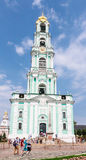 Tourists and parishioners around the bell tower. Holy Trinity-St. Sergiev Posad Royalty Free Stock Photos