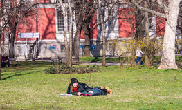 Tourists in the park in the center of the Bulgarian capital Stock Image