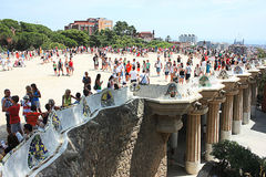 Tourists in Park Guell Barcelona Stock Images
