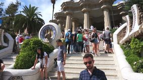 Tourists at the Park Guell Steps stock footage
