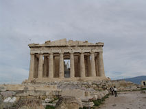 Tourists on Parthenon on Acropolis of Athens, Greece Royalty Free Stock Photo