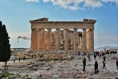 Tourists at Parthenon in Acropolis Stock Photos