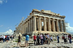 Tourists at Parthenon, Greece. Stock Images