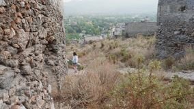 Tourists Path Ruin Medieval Castle Stone Walls