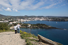Tourists on the path to Cadaques Royalty Free Stock Photography