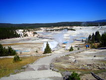Tourists on pathway in Norris Geyser Basin royalty free stock photo