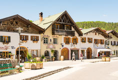 Tourists in the pedestrian area of Mittenwald Royalty Free Stock Photo
