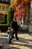 Tourists at Peles castle Stock Photos