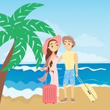 People at the beach. vector illustration