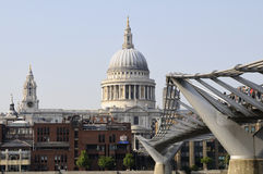 Tourists and people on bridge of Thames river Royalty Free Stock Photography