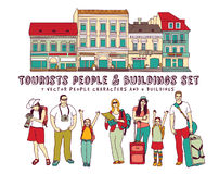 Tourists people and buildings isolate on white. Royalty Free Stock Photos