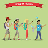 Tourists People Group Flat Style Stock Images