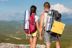 Tourists - people hiking in mountain Royalty Free Stock Photo