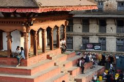 Tourists people resting at Basantapur Durbar Squar stock photo