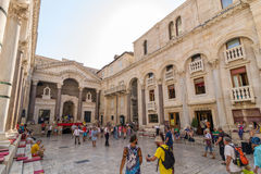 Tourists at the peristyle in Split Stock Photo