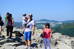 Tourists at Perperikon ruins Stock Images