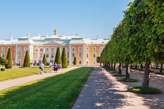 Tourists at the Peterhof Palace Stock Image
