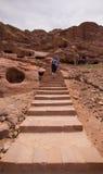 Tourists Petra Jordan. Tourists in Petra the lost city in Jordan Stock Photos