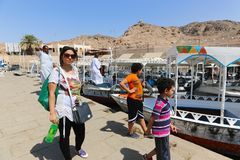 Tourists at Philae island - Aswan, Egypt Stock Photo