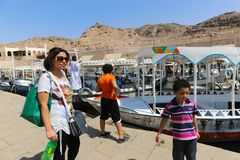 Tourists at Philae island - Aswan, Egypt Stock Images