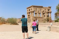 Tourists at Philae island - Aswan, Egypt Royalty Free Stock Photos