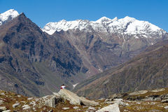Tourists photographed on a background of snowy mountains. India, Royalty Free Stock Photo
