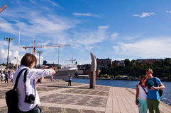 Tourists and photographer in Stockholm Royalty Free Stock Image