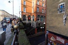 Tourists Photographing Banksy Artwork Stock Photos