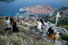 Tourists photographing Dubrovnik Royalty Free Stock Photography