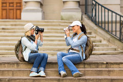 Tourists photographing each other Royalty Free Stock Photos