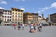 Tourists on Piazza della Signoria. Piazza della Signoria in Florence, Italy. The most visited touristic attraction Royalty Free Stock Image