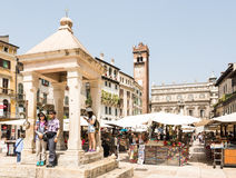 Tourists at Piazza delle Erbe Stock Photography
