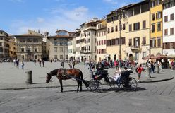 Tourists on the Piazza di Santa Croce in Florence, Italy stock photography