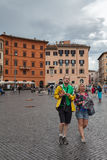 Tourists In Piazza Navona Stock Photography