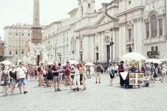 Tourists in Piazza Navona, Rome, Italy Royalty Free Stock Images