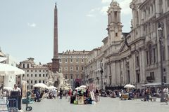 Tourists in Piazza Navona, Rome, Italy Royalty Free Stock Photo