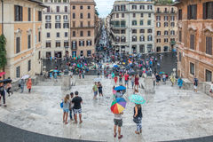 Tourists in piazza, Rome, Italy stock image