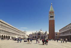 Tourists in the Piazza San Marco in Venice Royalty Free Stock Image