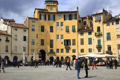 Tourists on Piazza Santa Maria in Lucca Italy Royalty Free Stock Photos