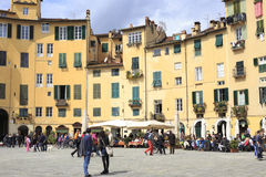 Tourists on Piazza Santa Maria in Lucca Italy Stock Image
