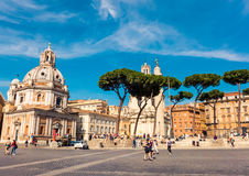 Tourists on Piazza Venezia in Rome. Stock Images